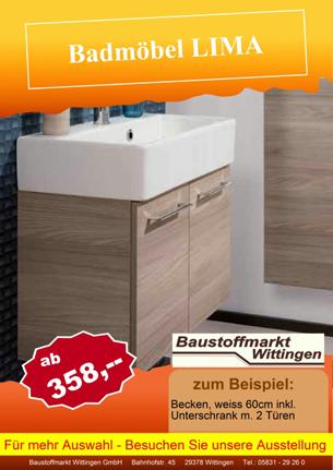 Aktuelles Angebot im Baustoffmarkt Wittingen - Badmöbel LIMA